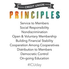 These principles guide My Community FCU—not profit. ‪#‎ICUday‬