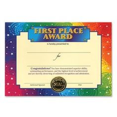 First Place Certificate 50 Is The Big One Certificate Greeting 6Ct