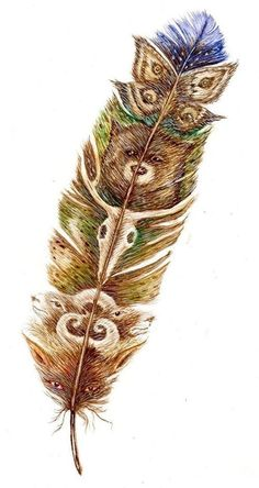 Original gouache painting of a totem feather with animal designs in the feather texture. Description from pinterest.com. I searched for this on bing.com/images
