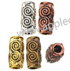 Zinc Alloy Tube Beads,Spiral,Plated,Cadmium And Lead Free,Various Color For Choice,Approx 10.5*5*5mm,Hole:Approx 2.5mm,Sold By Bags,No 001544