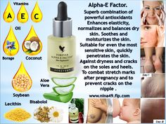 Alpha-E Factor.  Superb combination of powerful antioxidants Enhances elasticity, normalizes and balances dry skin. Soothes and moisturizes the skin. Suitable for even the most sensitive skin, quickly penetrates the skin. Against dryness and cracks on the soles and heels. To combat stretch marks after pregnancy and to prevent cracks on the nipple . Order at www.nina49.flp.com