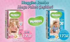 Huggies Jumbo Mega Paket Çeşitleri 17.90 TL!   Sipariş vermek için: http://www.happy.com.tr/anne_bebek/bebek_bezleri?limit=12&sort=p.sort_order&order=ASC&pf[man][260]=260&pf[prc][min]=19.9&pf[prc][max]=99.9  Happy.com.tr'den 100 TL ve üzeri verilen siparişler tüm Türkiye'ye ÜCRETSİZ KARGO!