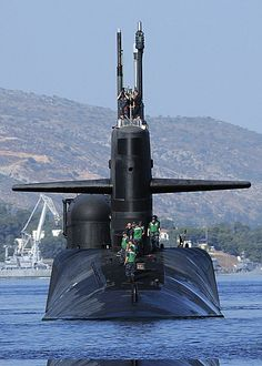 The Ohio-class guided-missile submarine USS Georgia (SSGN 729) arrives for a routine port visit to Souda Bay, Greece. USS Georgia is on her maiden operational SSGN deployment since converting from a ballistic missile submarine to a guided-missile submarine. (US Navy photo)