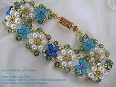 "Color Variation of Deb Roberti's ""Garden"" Bracelet. Pattern for sale at AroundTheBeadingTable.com"
