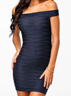 $8.63 Solid Color Alluring Off-The-Shoulder Sleeveless Packet Buttock Dress For Women