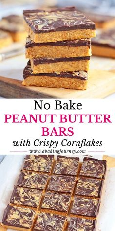 These No Bake Peanut Butter Bars with Chocolate and Peanut Butter Swirl are the ultimate flourless and egg-free sweet treats made without an oven! Peanut Butter No Bake, Peanut Butter Chocolate Bars, Cooking Chocolate, Peanut Butter Desserts, Chocolate Desserts, Chocolate Chips, Best Dessert Recipes, Easy Desserts, Sweet Recipes