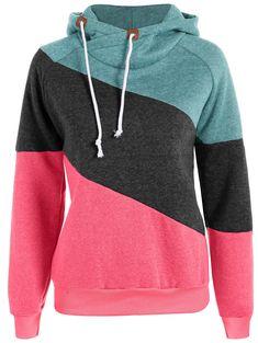 Color Block Long Sleeve Pullover Hoodie GREEN: Sweatshirts | ZAFUL