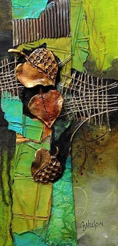 Fallen 2,   070716 by Carol Nelson mixed media ~ 12 in x 6 in