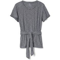 Gap Women Stripe Wrap Belt Tee ($24) ❤ liked on Polyvore featuring tops, t-shirts, short sleeve wrap top, wrap tee, gap tees, cinch t shirts and gap t shirts
