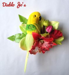 Green Parrot Tropical Hair flower, Rockabilly, Alternative hair, Pin Up by DiabloJos on Etsy