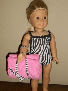 18 Inch American Girl Doll Clothes Zebra pattern swim suit Ready to Ship. $12.00, via Etsy.