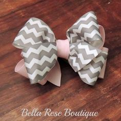 Girls Pale Pink and Grey Chevron Hairbow