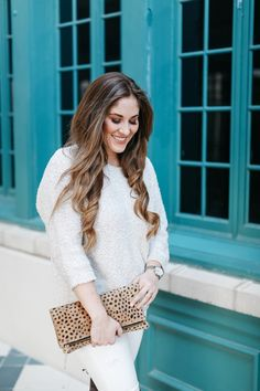 How to Wear Winter White Jeans - Keep It Neutral and Pair with a Cozy Sweater and OTK Boots!