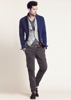 Indigo blue jacket adds a subtle pop of color to this outfit.