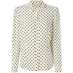 Red Valentino Polka Dot Shirt ($424) ❤ liked on Polyvore featuring tops, shirts & tops, white silk shirt, peter pan shirt, white silk top and peter pan top