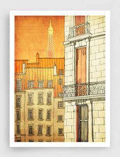 Paris illustration - Paris windows - Fine art illustration - Fine art prints - Art Posters,Paris art,Paris decor,Wall art,wall decor