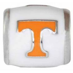 "Teagan Collegiate Collection Bead: University of Tennessee Orange ""T"" on White Bead  925 Silver & Enamel.  This is a ""Teagan"" bead and it is compatible with Pandora, Biagi, Zable, Brighton, Troll and many other European style bracelets. As with any Teagan Bead, it is a high quality nice weight bead."