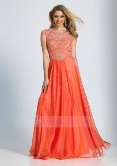 A-line Cap Sleeves Scoop Neck Long Beaded Chiffon Prom Dress