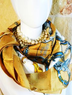 Authentic Vintage Hermes Silk Jacquard Scarf L'Instruction Du Roy Gold