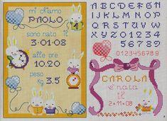 Schemi per il punto croce: Motivi per bambini a punto croce. Cross Stitch Baby, Cross Stitch Alphabet, Hand Embroidery Patterns, Cross Stitch Patterns, Minnie Baby, Cross Stitch Freebies, Baby Birth, Le Point, Cross Stitching