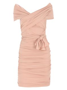 Exude your feminine graces in this pink ruched jersey cocktail dress by MaxMara. Dress up with suede heels, embellished bag and a jewel encrusted cuff for complete twilight hour opulence, $897