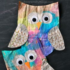 recycled newspaper owl craft