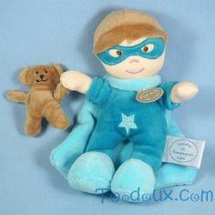 Super héros DOUDOU ET COMPAGNIE bleu turquoise