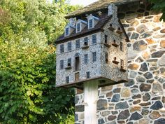 Birdhouse matches the Chadds Ford Historic Society Building Bird houses that match buildings or hous Building Bird Houses, Outdoor Spaces, Outdoor Decor, Bird Cages, Bird Feeders, Garden Terrarium, Brick And Stone, Modern Buildings, Fairy Houses