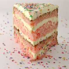 My birthday is this week and I am making this cake for myself.  Strawberry lemonade cake.