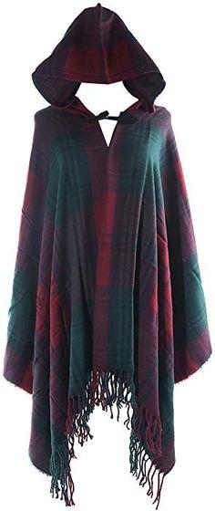 2ec96b3d076c Amazon.com  VamJump Women Plaid Tartan Hooded Cashmere Ponchos Cape Shawl  Scarf Green