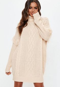 9d9400d5b11 Missguided - White Roll Neck Knitted Jumper Dress