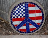 Patriotic Stepping Stone, Red, white and blue, Peace sign, mosaic american flag, round yard art, garden decor