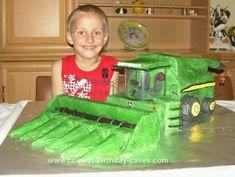 Homemade John Deere Combine Birthday Cake: I baked this John Deere combine birthday cake for my son's sixth birthday. He adores everything farm related and asked for a John Deere combine cake. I