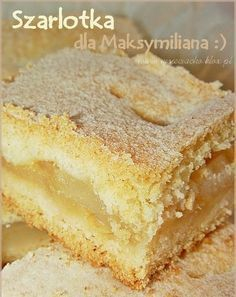 Składniki na ciasto: · 3 szklanki mąki krupczatki · 1 niep... Polish Desserts, Cookie Desserts, No Bake Desserts, Easy Desserts, Delicious Desserts, Dessert Recipes, Apple Cake Recipes, Baking Recipes, Kolaci I Torte