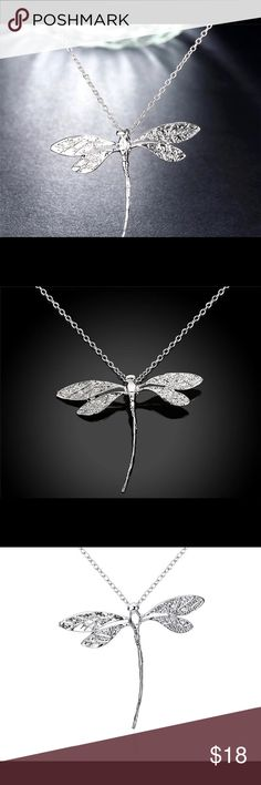 A Beautiful Dragonfly Pendant Choker Necklace. A Beautiful Dragonfly Pendant Choker Necklace.Chain part Of June Jewelry Sale- 2 for 10$!! Type Link Chain Necklace TypePendant Necklaces Shape\patternDragonfly StyleTrendy Pendant Size3.2*4.5CM GenderWomen Metals TypeCopper Collares Platedsilver plated Environmental Standardlead,nickel,cadmium free Gift Formom / girlfriend / wife / daughter / friend Occasionswedding / engagement / anniversary Birthday Jewelry Necklaces