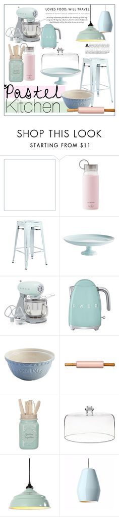 """""""Pastel kitchen"""" by fashion-film-fun ❤ liked on Polyvore featuring interior, interiors, interior design, home, home decor, interior decorating, Kate Spade, Office Star, Rosanna and Crate and Barrel"""