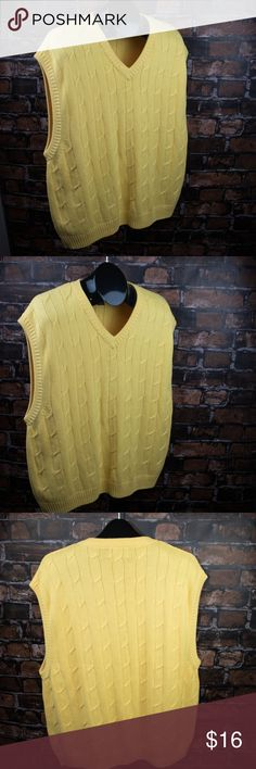 Hunt Club Yellow Sweater Vest 2XL / XXL V Neck Yellow Hunt Club Men's Sweater Vest - V Neck  2XL / XXL Cotton Sleeveless  Brand: Hunt Club Condition: Excellent Used - Like New  Category:Sweaters  Color: Yellow Size Type: Regular Size: Men's XXL (2XL) Style: Vest Material: Cotton Hunt Club Sweaters V-Neck
