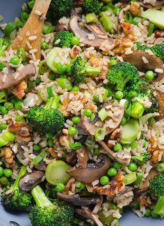 broccoli mushroom stir fry  Could possibly be an E meal if I reduce the walnuts.