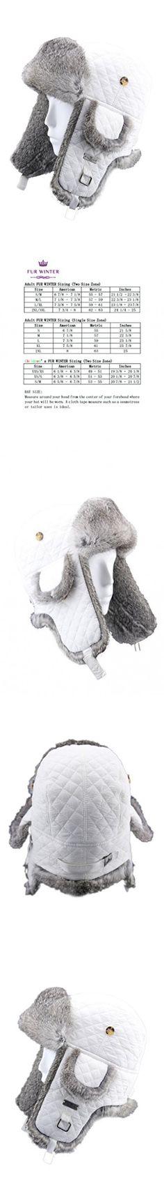 FUR WINTER Rabbit Fur Diamond Quilted Nylon Aviator Bomber Trapper Hat WHI/GRY L/XL