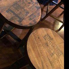 Bourbon Barrel End Tables – Repurposed Furniture – Rustic End Tables - Modern Repurposed Furniture, Rustic Furniture, Rustic End Tables, Side Tables, Bourbon Barrel, Whiskey Barrels, Spool Tables, Modern Table, Bar Tops