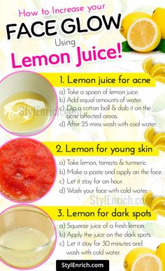 skin care - Using lemon juice for skin provides so many benefits that are good for your skin The fruit is easily available and has abundant Vitamin C, B, Carbohydrates, and Phosphorous Using lemon for face is way better than using harsh chemicals which w Lemon Juice For Skin, Lemon On Face, Lemon Uses For Skin, Lemon Benefits For Skin, Lemon Skin Care, Lemon Facial, Lemon Face Mask, Lemon Recipes For Skin, Face Mask Diy