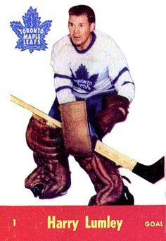 1955-56 Parkies #1 Harry Lumley Hockey Goalie, Hockey Games, Hockey Players, Hockey Highlights, Maple Leafs Hockey, Toronto Ontario Canada, Stars Hockey, Goalie Mask, Wayne Gretzky