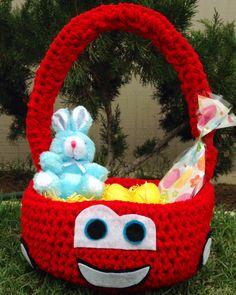 Cars lightning McQueen Easter Basket sold on https://www.facebook.com/CrochetingSweetie