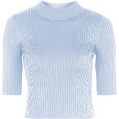 TOPSHOP Ribbed Funnel Neck Top (32 CAD) ❤ liked on Polyvore featuring tops, sweaters, shirts, crop top, topshop, pale blue, topshop sweaters, blue top, topshop shirt and shirts & tops
