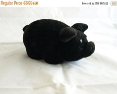 SALE -20% Cute soft foamy vintage rare black pig piggy  from Soviet era - made in USSR (Estonia) - Soviet plush toy - Russian piggy wiggy by BuratinoToys on Etsy