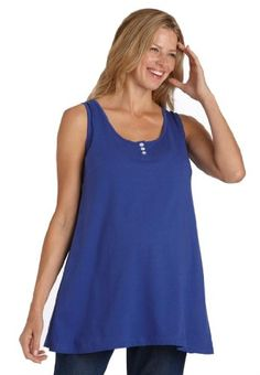 BESTSELLER! Woman Within Plus Size Top, Tank For Maternity With Scoop Neck Button Front $24.99