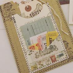 sewing machine to stitch paper Fabric Journals, Journal Paper, Fabric Books, Scrapbook Journal, Travel Scrapbook, Journal Cards, Art Journals, Sewing Machines Best, Paper Art