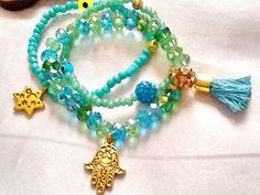 SALE HAMSA and CRYSTAL bracelet  bohemian bracelet by Nezihe1