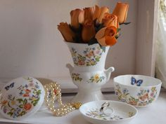 "Aynsley's ""Cottage Garden"", comprised pedestal flower vase urn, round vanity jar with lid, Butterfly Bowl and pin dish, dressing tableware by BitsnBobsnKeepsakes on Etsy"