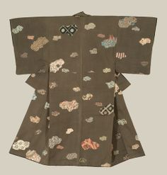 A relatively heavy man's silk kimono featuring various patterns - each pattern is unique, and each seems to have been laid down via time-consuming pigment penciling.  Early Showa Period (1927-1940), Japan.  The Kimono Gallery